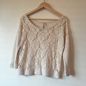 Anthropologie Paper Crane 3/4 Sleeve lace sweater